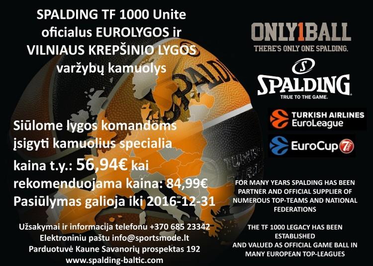 SUPER AKCIJA oficialiam Nesė Casino - VKL KAMUOLIUI: SPALDING tik po 56.94 € (vietoj 84.99 €)!