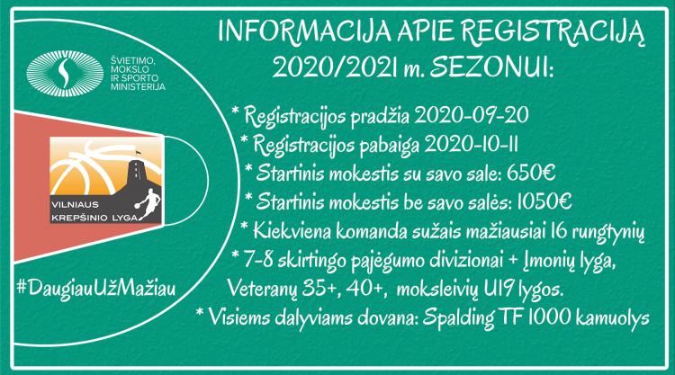Netrukus prasidės registracija į 2020 - 2021 m sezoną