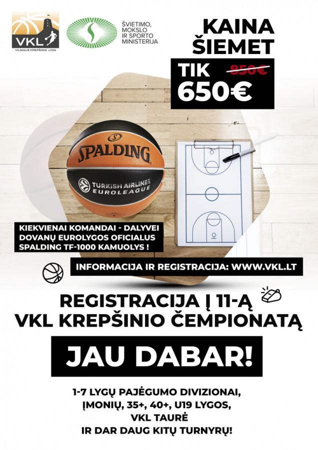 11-asis VKL ČEMPIONATAS: REGISTRACIJA - kaina į bet kurią lygą TIK 650 EUR !